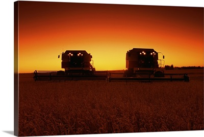 Combines harvesting crop at sunset
