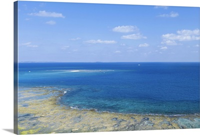Coral sand cay and fringing reef, Okinawa