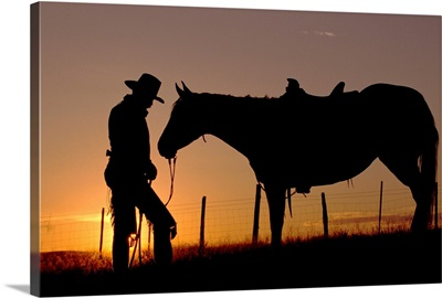 Cowboy Standing With His Horse