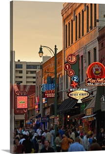 Crowd of people and buildings on Beale Street in Memphis, Tennessee