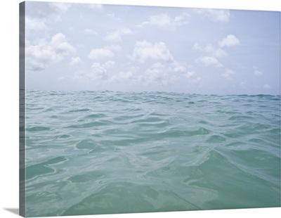Crystal clear, blue ocean water
