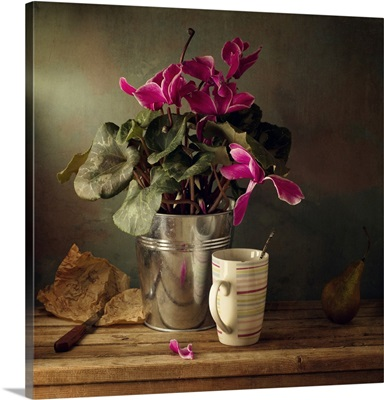 Cyclomen flower pot and cup with strips, Israel.