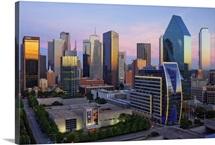 Dallas skyline at dusk, Texas
