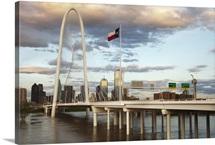 Dallas skyline with Margaret Hunt Hill Bridge, Texas