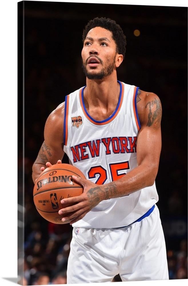 f34e4ff477a Derrick Rose 25 of the New York Knicks shoots a foul shot against the  Atlanta Hawks Wall Art