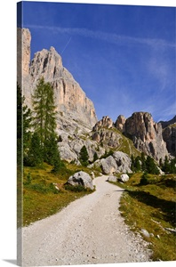 Dirt Road In Dolomites Mountain Range In Northern Italy