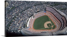 Dodger Stadium during a 1985 season game in Los Angeles, California