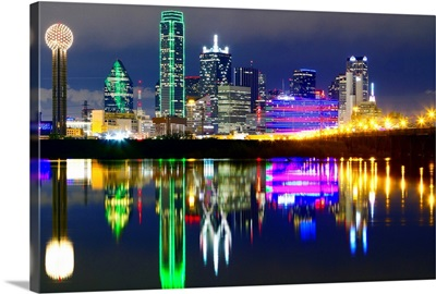 Downtown Dallas skyline reflections in the Trinity River