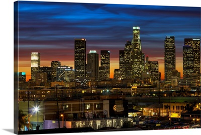 Downtown of Los Angeles at Sunset.