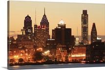 Downtown Philadelphia, Pennsylvania at sunset