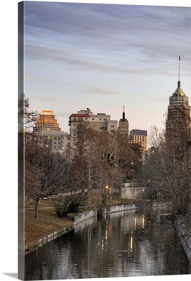 Downtown San Antonio and Riverwalk in winter at dawn.