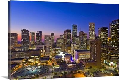 Dowtown city skyline at dusk/sunset/night, Houston, Texas, USA.