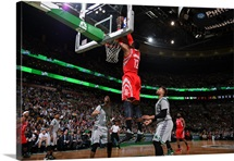 Dwight Howard of the Houston Rockets goes up for a dunk against the Boston Celtics