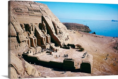 Egyptian building carved into hillside