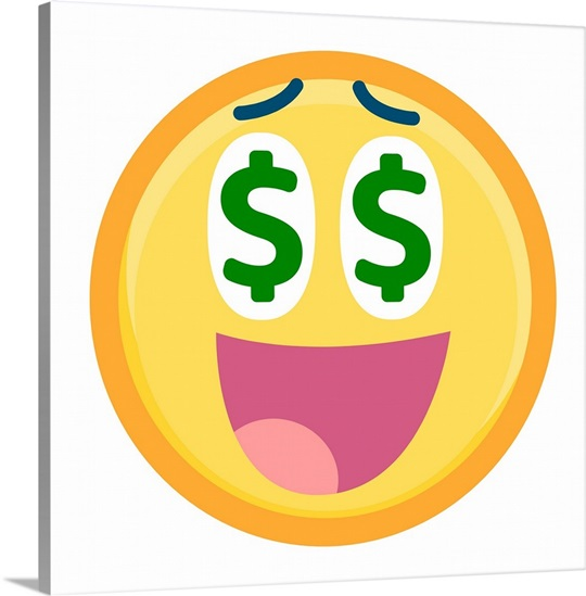 Emoji Wall Art emoji dollar sign face wall art, canvas prints, framed prints