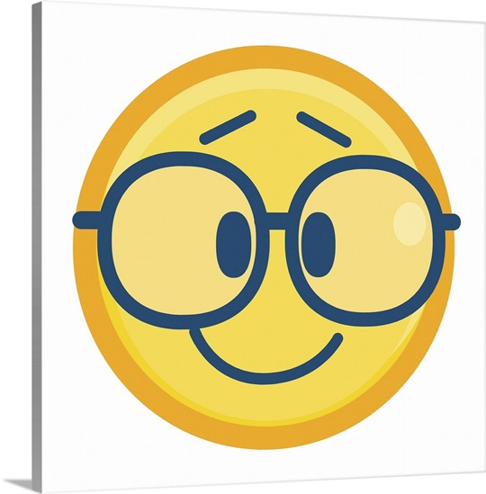 Emoji Wall Art emoji geek face wall art, canvas prints, framed prints, wall peels