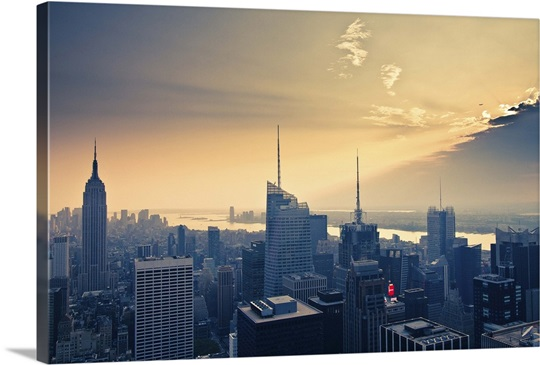 Empire State Building and airplane flying into clouds. Wall Art ...