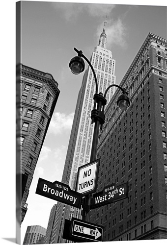 Empire State Building And Street Signs Manhattan New