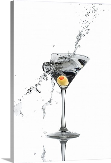 Exploding martini glass Wall Art, Canvas Prints, Framed