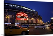 Exterior of Wrigley Field at night, home of the Chicago Cubs, Chicago, Illinois
