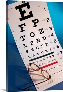 Eye chart with eyeglasses
