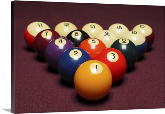 Fifteen billiard balls arranged in triangle on pool table Wall Art ...