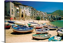 Fishing boats at Cefalu Harbor, Cefalu, Sicily, Italy