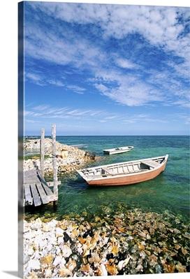 Fishing boats by shore