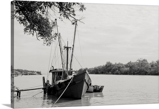 Fishing bumboat in Mukah River. Wall Art, Canvas Prints, Framed ...