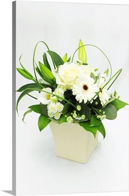 Flower bouquet against white background.
