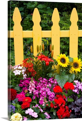 Flower Garden And Picket Fence