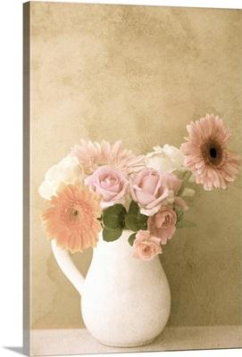 Flower vase against wall.