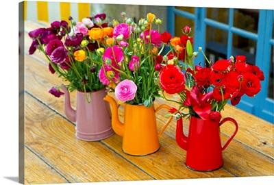 Flowerpots on a table, Dinan, France