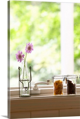 Flowers in vase and dried fruits in glass jars on windowsill