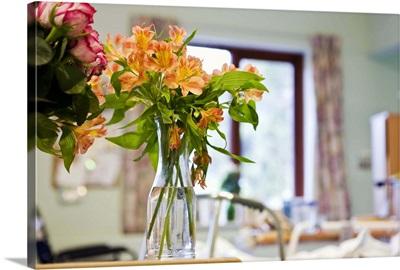 Flowers in vases in hospital room