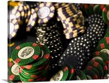 Gambling chips jumbled together, close-up
