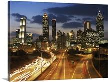 Georgia, Atlanta skyline at dusk