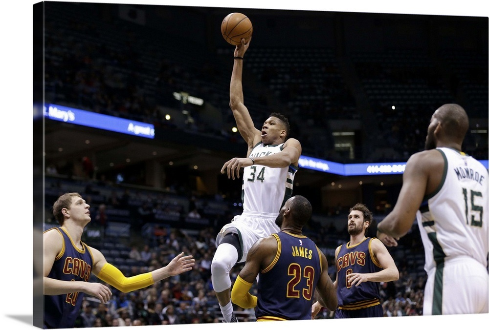 Giannis Antetokounmpo 34 of the Milwaukee Bucks drives to the hoop Wall Art f1493103a