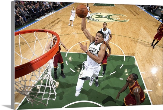 Giannis Antetokounmpo 34 of the Milwaukee Bucks goes for the dunk during the  game d20773f50