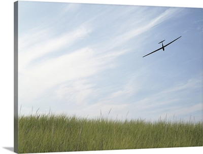 Glider flying in sky with grass in foreground