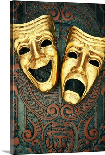golden comedy and tragedy masks on patterned leather wall art