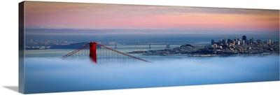 Golden gate foggy at morning, San Francisco.