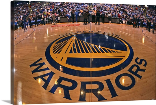 Golden State Warriors Logo On The Court At Oracle Arena Wall Art Canvas Prints