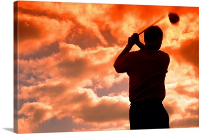 golf player in the sunset