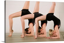 Gymnasts posing upside down