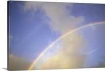 Hawaii, Double rainbow arching through clouds and blue sky