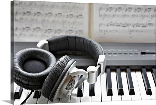 Headphones on electronic piano keyboard Wall Art, Canvas Prints ...