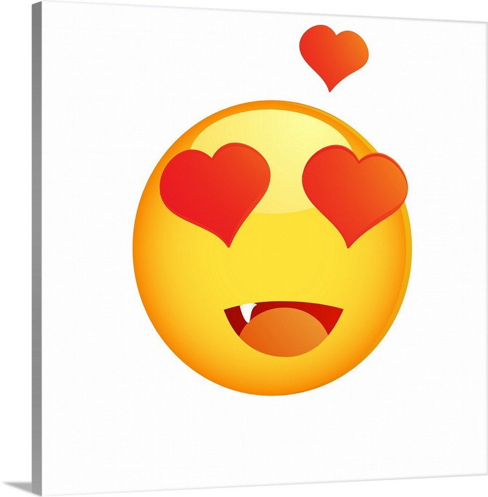 Heart eyes emoji wall art