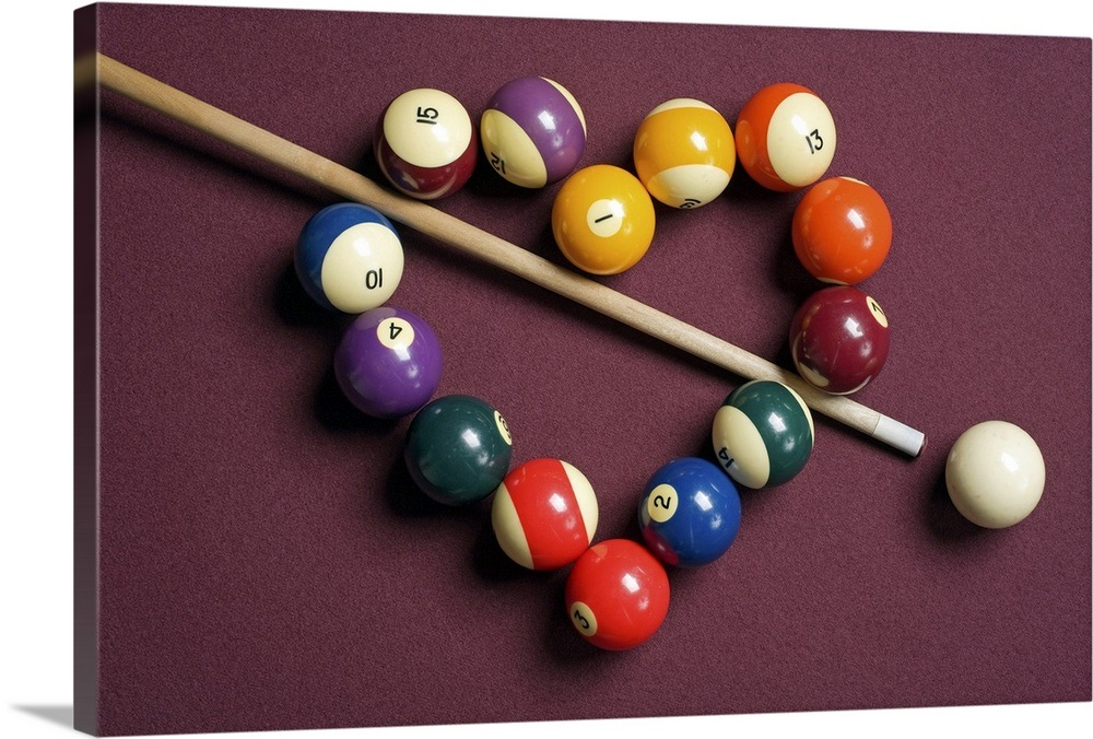 Heart Shaped Billiard Balls With Cue Ball And Stick Wall