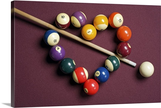 Heart shaped billiard balls with cue ball and stick Wall Art, Canvas ...
